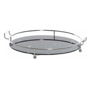 Eastborne Black Marble-Finish Round Tray
